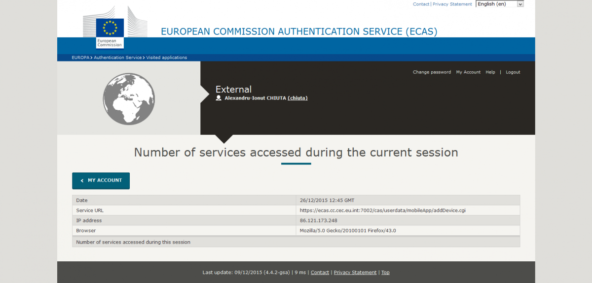my account number of services accessed using the current session